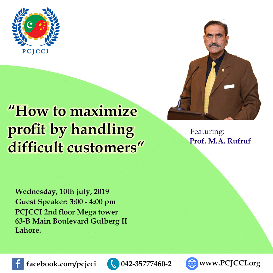 "Informative session on ""How to maximize profit by handling difficult customers"""