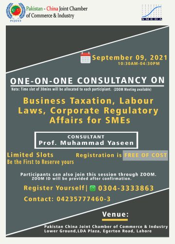 One on One Consultancy Session on Business Taxation Labour Laws Corporate Regulatory affairs for SMES